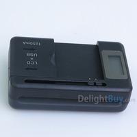 Wholesale 5pcs/lot Universal Dock charger EU YIBOYUAN Universal charger for mobile phone (US plug + EU adapter)