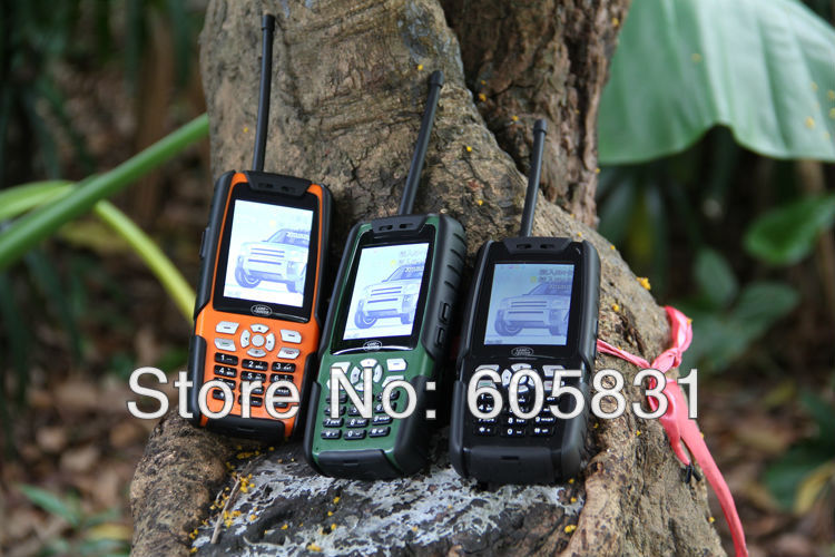 5PCS/lot PTT walkie-talkie outdoor Car mobile phone HD screen 100% waterproof army cell phone Good quality long standby dual sim(China (Mainland))