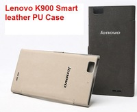 Free Shipping 100% Original Lenovo K900 Leather PU Case In Stock Lenovo K900 Smart Case Protective Case freeGift ScreenProtector