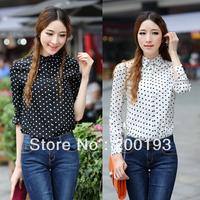 SMILE MARKET Free Shipping Europe Fashion Polka Dot Chiffon Long Sleeve Shirt for Women(Color:Black,White)