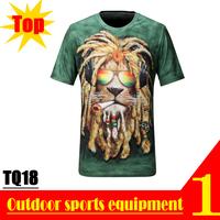 Perfect! 2013 Autumn Quick Dry Fashion 3D Men T shirt , Animal Green Lion Smoke UV protection T-shirts TQ18