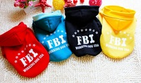 2013 New FBI Dog Sweater Pet Dog Hoodie Dog Costume Pet Products dog clothes 4 Colors Yellow/Black/Green/Red 5 Sizes