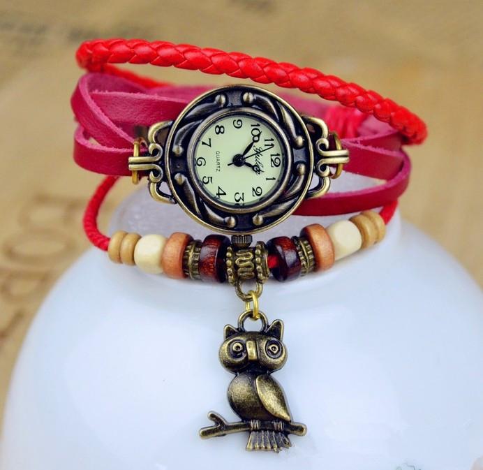High Quality Genuine Braid Leather Women Vintage Bracelet Bangle Women Lady wrist watch owl adornment(China (Mainland))