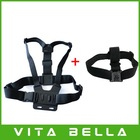 Free Shipping GoPro Chest Mount Harness and Head Strap Mount For GoPro Hero2, Hero3, Hero 3+ Action Camera Drop Shipping(China (Mainland))