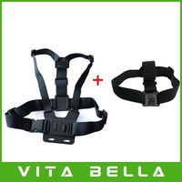 Free Shipping GoPro Chest Mount Harness and Head Strap Mount For GoPro Hero2, Hero3, Hero 3+ Action Camera Drop Shipping