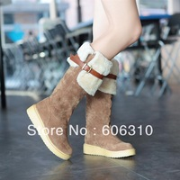 Han edition of winter  boots scrub round head warm fur boots boots flat with thick bottom show thin leg and knee boots