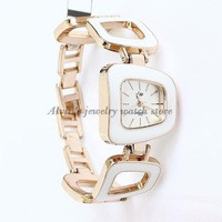 Free Shipping Big Hollow Bracelet Watches Fashion White Casual watch Rose Gold Plated Wholesale