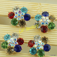 2.5cm satin flower center jewelry, ribbon bow decoration crystal and handmade rhinestone(50 pieces/bag