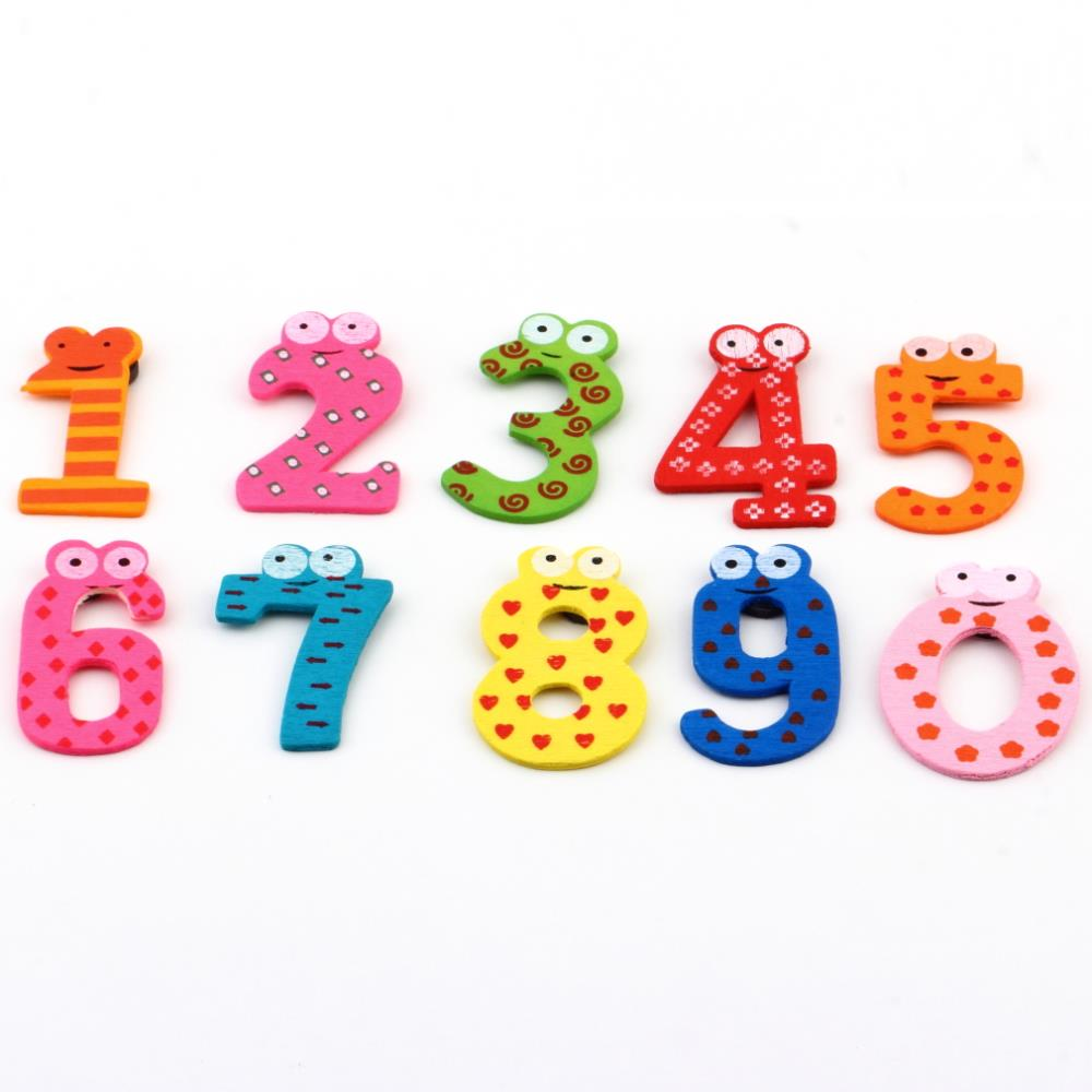 1set X mas Gift Set 10 Number Wooden Fridge Magnet Education Learn Cute Kid Baby Toy DropShipping(China (Mainland))