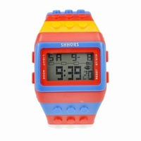 Multi-Color Block Brick Style Wrist Watch with LED Night Light WTH0398