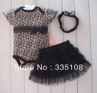 Drop shipping Baby girls 3 Piece Suits short Romper +Ruffled Skirt + Headband Leopard girls summer Bodysuits kids Fashion suits