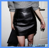 Autumn and winter leather skirt high waist slim hip black leather pencil skirt 2013 all-match,free shipping