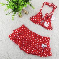 2-8 Years Kid's Bikini Skirt/Children Baby Swimsuit/Red Hello Kitty Swimwear/Girl Swimming Wear/Free Shipping Retail 1 pc