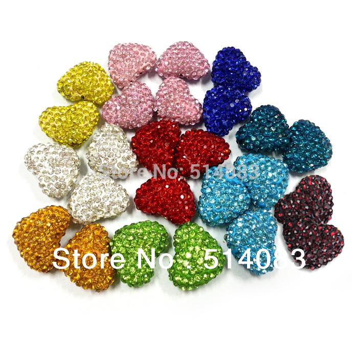 2014 novo da forma do coração de cristal de Shamballa Beads buraco através Beads 10 cores Escolha 23 * 18 milímetros Atacado 30pcs/lot Frete Grátis(China (Mainland))