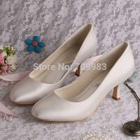 Individually Handmade Bridal Shoes Low Heels Ivory Satin Wedding Pumps Closed Toes Dropshipping