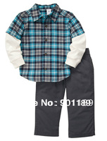 Retail Carter's baby boys 2 piece clothes set 100% cotton plaid blouse overshirt + trousers