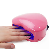 2013 New 220~240V EU Plug 3W LED Uv Lamp Nail Gel Polish Manicure Nail Dryer Mini Portable Heart Shape Free Shipping