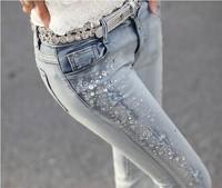 2013 women's Women light color jeans thin female elastic skinny pants