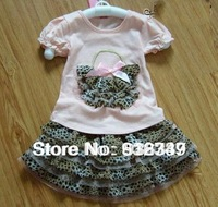 Hot Girl's leopard Short sleeve T-shirt + TuTu skirt Girls summer clothing sets Kids chiffon Skirts suits Free shipping