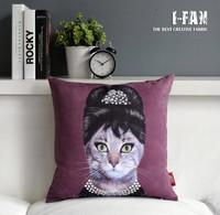 Wholesale! Audrey Hepburn cushion Cat Plush pillow cover for car office nap Home decoration sofa cushions 45cm*45cm