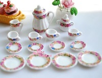 Free Shipping !  LOT OF 15PCS Rose porcelain China Coffee Tea Lid Pot Cups~ 1/12 Scale Dollhouse Miniature Furniture