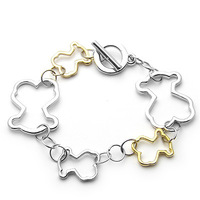 Lovely Korean Star Bear Charm Bracelet Double Mix Plating Color High Quality Bangles For Girl Boy Wholesale Lots
