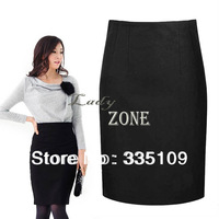 2013 Casual Women's Elegant Sexy High Waist Pencil Skirt OL Woolen Packet Buttock Skirt M-XXL Black 18420