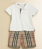 New 2013 summer  children's fasion clothing set for baby boys cotton short sleeve T-shirt + plaid shorts 2 piece suit