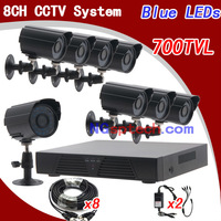 Free shipping 8ch cctv kit whole cctv system CMOS 700TVL cctv secuirty surveillance video camera 8ch channel DVR recorder