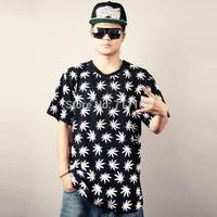 men T shirt summer fashion weed HARAJUKU skateboard hiphop hip-hop loose dancer short sleeve T-shirt  cotton free shipping 4XL