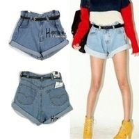 Free shipping 2013 All Season Wear Denim Shorts Turn Up High Waist Shorts Loose Fit Plus Large Shorts PantsXS S M LXL