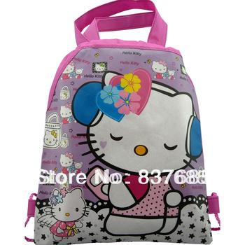 1Pcs Hello kitty 1 Детский School Bags Handbags Cartoon Drawstring Bag shopping bag ...
