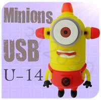 Hot sale U14 Despicable Me 2 Minions Cartoon U Disk 256MB 4GB 8GB 16GB 32GB 64GB USB 2.0 Flash Memory Stick Gift USB Flash Drive