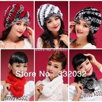 2014 NEW Fur hats for Women Winter Christmas Rabbit Fur hat Stripe toe cap covering cap thermal fashion Woolen hat Fur Muffler