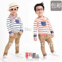 Child stripe long t-shirt male female child sweatshirt t-shirt 2014 children's autumn clothing child autumn