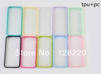 Free Shipping Wholesale Hot Items Multicolor Translucent Plastic + TPU Cover Case for iPhone 5c