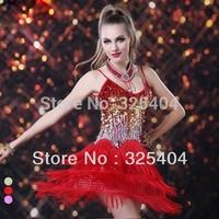 Free shipping Sexy Spaghetti Strap Sequined Tassels Latin Sala Tango Fringe Dance Dress D307D