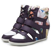 ASH New Arrival Flower 2 Styles Wedge Sneakers,Height Increasing 8cm,Size 35~39,Women Shoes,Popular Europe&America,Free Shipping