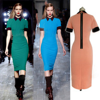 S M L Plus Size 2013 New Fashion Victoria Beckhem Design Short Sleeve Slim Fitting Back Zipper Cotton Pencil Casual Dress 32