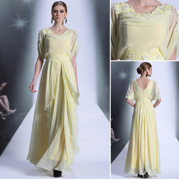 DORISQUEEN  2014 spring new beaded   yellow color applique  long prom dresslong sleeve