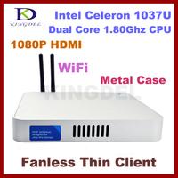 Fanless Metal Case Thin Client PC, Mini Computer, Intel Celeron 1037U, 4GB RAM, 16GB SSD, WiFi, 1080P HDMI