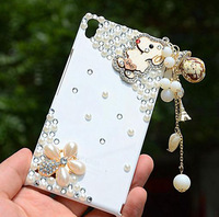 10pcs Bling Cartoon Dog Wood Tassel Pendant Luxury Mobile Phone Luxury Diamond Case for Huawei P6