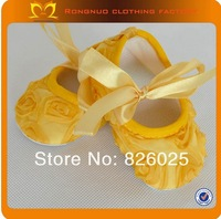 2013 cute soft sole baby shoes purple baby ribbon infant crib shoes 24 pairs/lot  free shipping