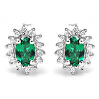 Luxury British Kate Princess Diana William Engagement Wedding Nano Russian Emerald Earrings Stud Set Genuine 925 Sterling Silver