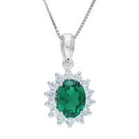 British Kate Princess Diana William Engagement Wedding Green Russian Nano Emerald  Pendant Sets Pure Solid 925 Sterling Silver