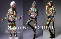 2013 new fashion women down jacket print design short down coat set women winter down suit coat+pants sunflower suit double wear