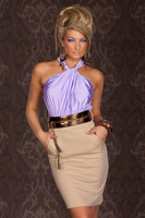 2013 New Sexy Womens Dizzying Lavender Ruched Halterneck Cocktail Fashion Dresses New Fashion 2013 LC2949 Drop Shipping