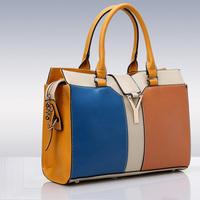 Color Blocking Women Handbag OL Fashion Tote Bags Handbags Women Famous Brands Shoulder Bag Bright Color Vintage Hand Bag