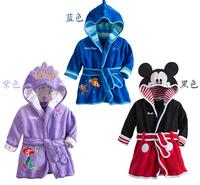 2014 free shipping Retail Spring Autumn boy\girl Pajamas robe kids Micky minnie mouse Bathrobes  kids cartoon home wear 3colors