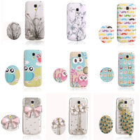 Free Shipping hard cover for Samsung Galaxy S4 mini I9190 i9192 i9195 TPU case Etui Skin Gel  white with pink bowknot peacock
